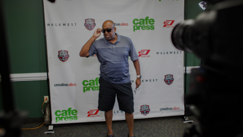 Making sure the cameras were working at the CP3 event