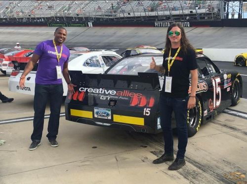 Phil Chamberlain and Kendrall Felder at Nascar - car sponsored by Creative Allies and Walk West