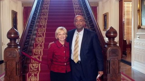 At the Governor's Mansion in Raleigh with former NC governor Bev Perdue